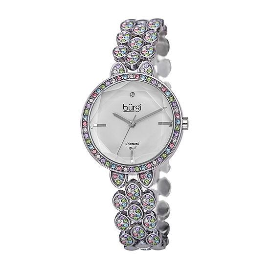 Burgi Womens Silver Tone Bracelet Watch-B-232ss