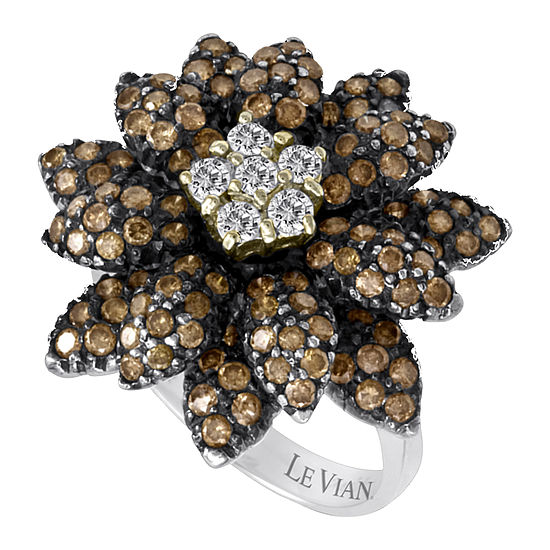 LIMITED QUANTITIES Le Vian Grand Sample Sale™ Ring featuring Vanilla Diamonds®, Chocolate Diamonds® set in 14K Vanilla Gold®