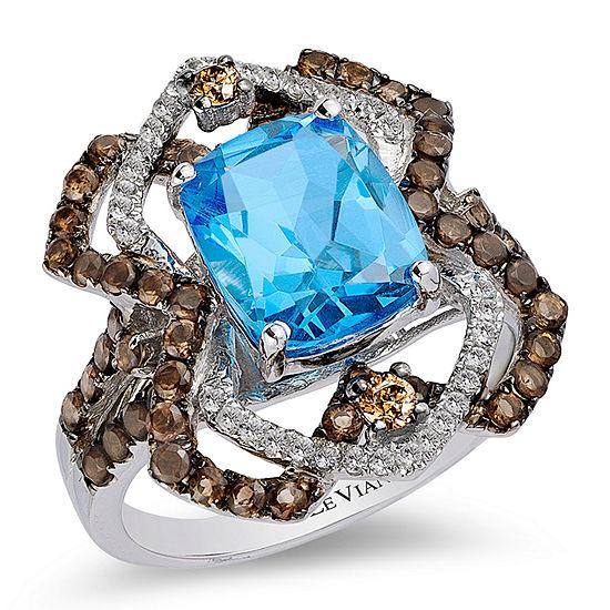 LIMITED QUANTITIES Le Vian Grand Sample Sale™ Ring featuring Blue Topaz, Chocolate Quartz®, Vanilla Topaz™, Chocolate Diamonds® set in 14K Vanilla Gold®