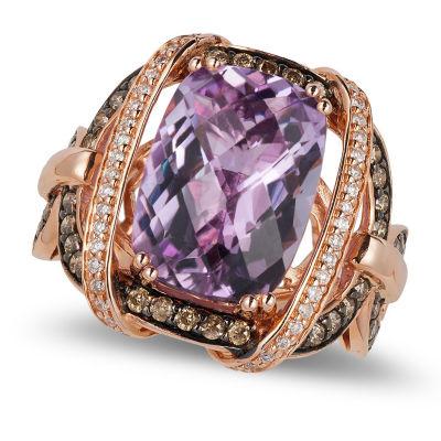 LIMITED QUANTITIES Le Vian Grand Sample Sale™ Ring featuring 5  Grape Amethyst™, Chocolate Diamonds®, Vanilla Diamonds® set in 14K Strawberry Gold®