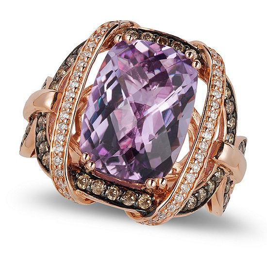 LIMITED QUANTITIES! Le Vian Grand Sample Sale™ Ring featuring Grape Amethyst™, Chocolate Diamonds®, Vanilla Diamonds® set in 14K Strawberry Gold®