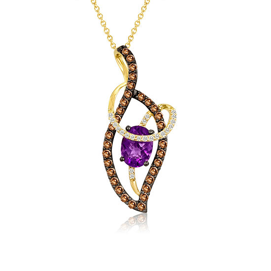 LIMITED QUANTITIES! Le Vian Grand Sample Sale™ Pendant featuring Grape Amethyst™, Chocolate Diamonds®, Vanilla Diamonds® set in 14K Honey Gold™