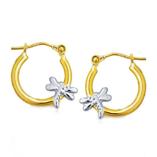 14K Two Tone Gold 14mm Hoop Earrings