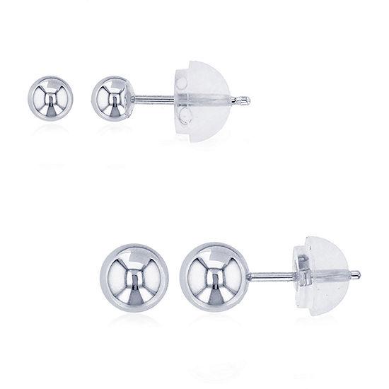 14K White Gold 2 Pair Earring Set