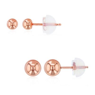 2 Pair 14K Rose Gold Earring Set
