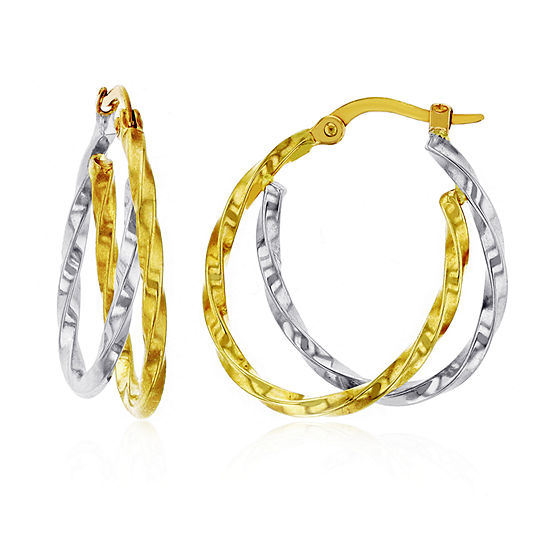 14K Two Tone Gold 25mm Oval Hoop Earrings
