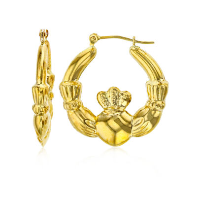14K Gold 25mm Claddagh Hoop Earrings