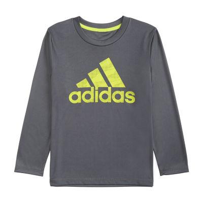 adidas Long Sleeve Crew Neck T-Shirt-Toddler Boys