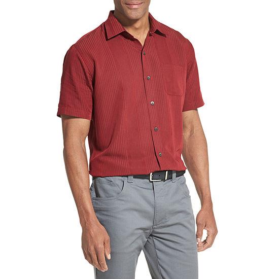 Van Heusen Air Sandwashed Stripe Camp Short Sleeve Stripe Button-Front Shirt