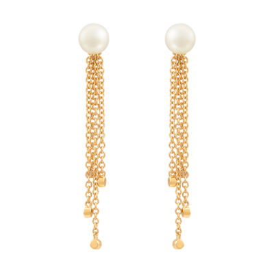 Genuine White Cultured Freshwater Pearl & Diamond Accent in 14K Yellow Gold Drop Earrings