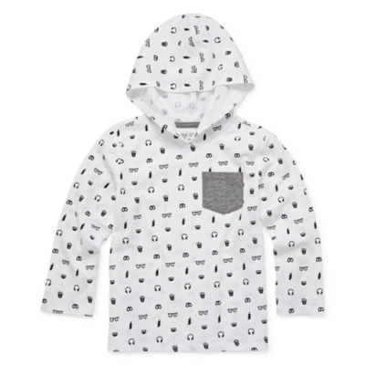 Okie Dokie Boys Hooded Neck Long Sleeve Graphic T-Shirt-Toddler
