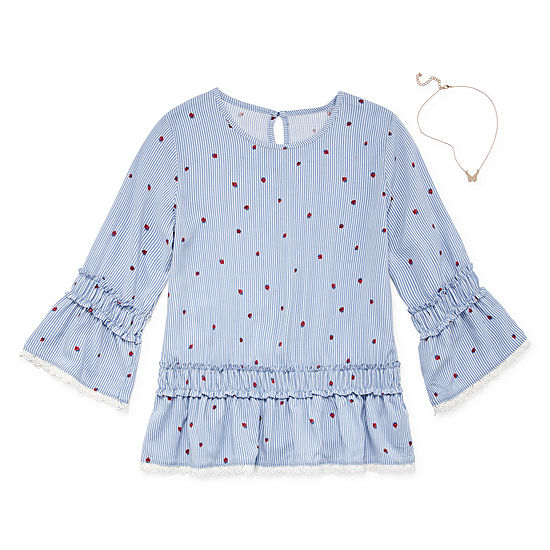 ARIZONA BELL SLEEVE WOVEN TOP WITH NECKLACE - GIRLS' 4-16