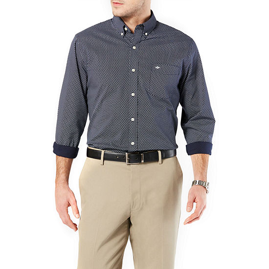 Dockers Mens Long Sleeve Squares Button-Front Shirt