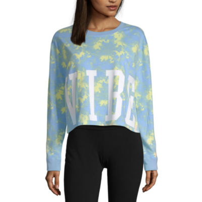Flirtitude Long Sleeve Crew Neck Tie Dye T-Shirt-Womens Juniors
