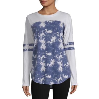 Flirtitude-Womens Crew Neck Long Sleeve T-Shirt Juniors