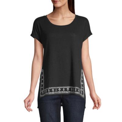 Liz Claiborne-Womens Crew Neck Short Sleeve T-Shirt Petite