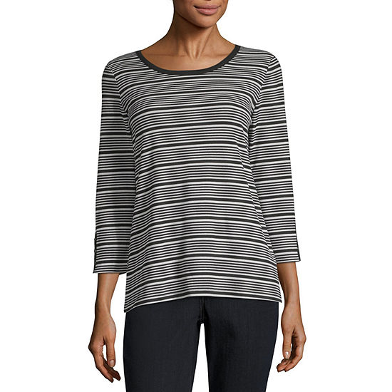 Liz Claiborne Weekend Long Sleeve Round Neck Stripe T-Shirt-Womens