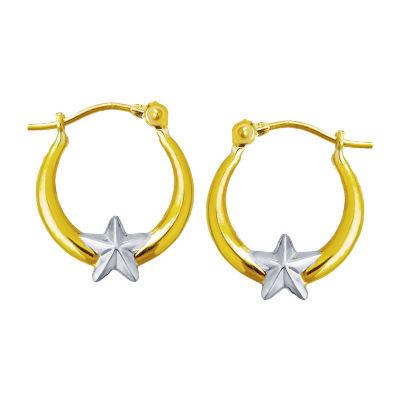 14K Two Tone Gold 15mm Star Hoop Earrings