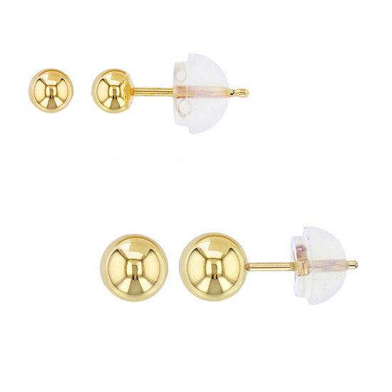 14K Gold 2 Pair Earring Set
