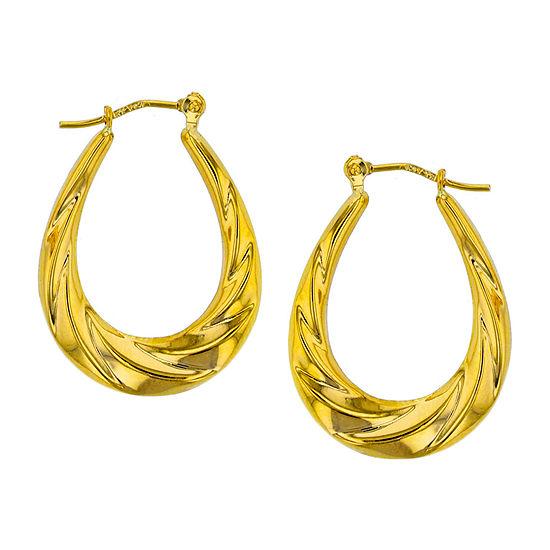 14k Gold 25mm Oval Hoop Earrings