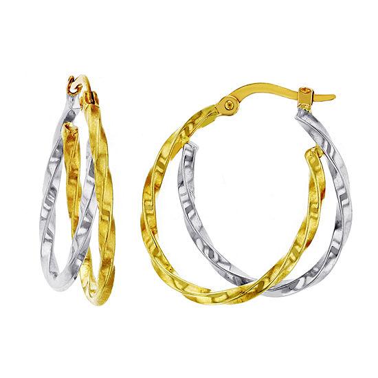 14K Two Tone Gold 25mm Oval Hoop Earrings