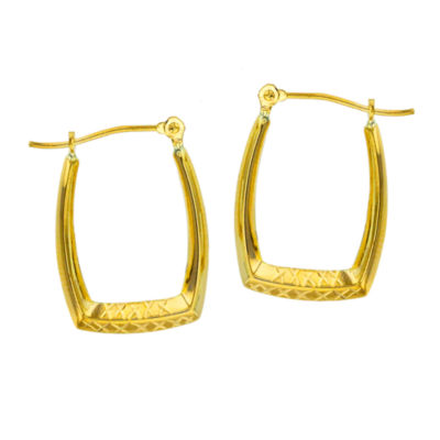 14K Gold 20mm Rectangular Hoop Earrings