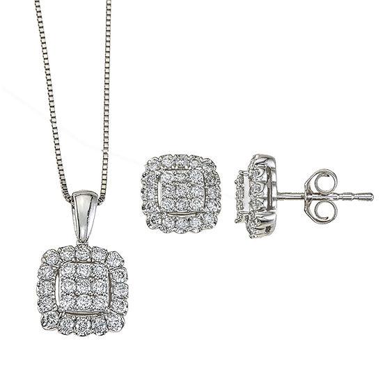 Diamond Blossom 3/4 CT. T.W. Genuine White Diamond 14K White Gold 2-pc. Jewelry Set