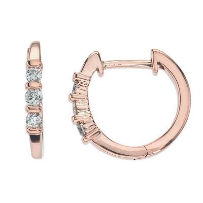 1/5 CT. T.W. Genuine White Diamond 10K Rose Gold 10.1mm Hoop Earrings