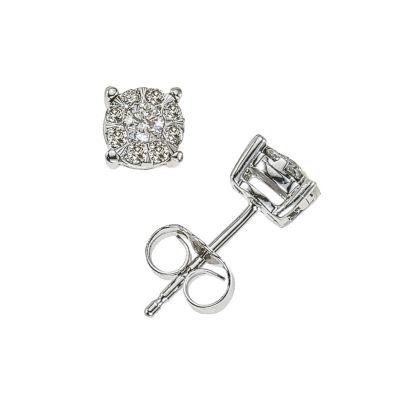 1/4 CT. T.W. Genuine White Diamond 10K White Gold Stud Earrings