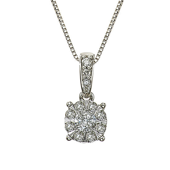 Womens 1/4 CT. T.W. Genuine White Diamond 10K White Gold Pendant