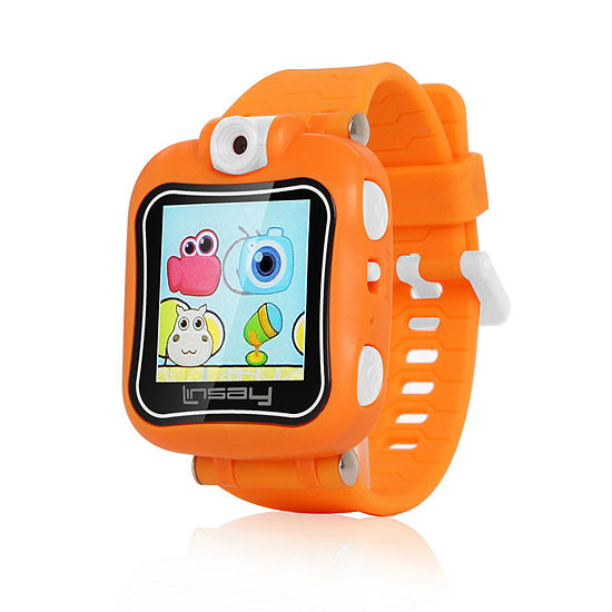 """LINSAY® 1.5"""" The SMARTEST KIDS SMARTWATCH 90 Degree Selfie Camera HD for Videos/Photos Learning Apps Orange"""