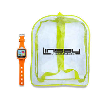 "LINSAY® 1.5"" The SMARTEST KIDS SMARTWATCH with BAG PACK 90 Degree Selfie Camera HD for Videos/Photos Learning Apps Orange"
