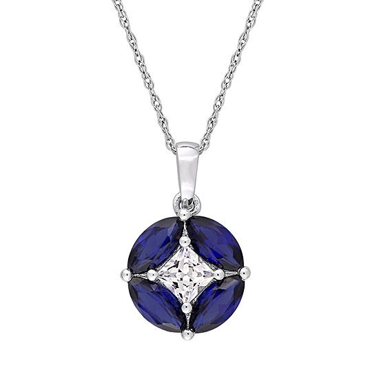 Jcp005374 Womens Lab Created Blue Sapphire 10K White Gold Pendant Necklace