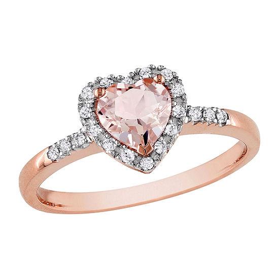 Womens 1/10 CT. T.W. Genuine Pink Morganite 10K Rose Gold Heart Cocktail Ring