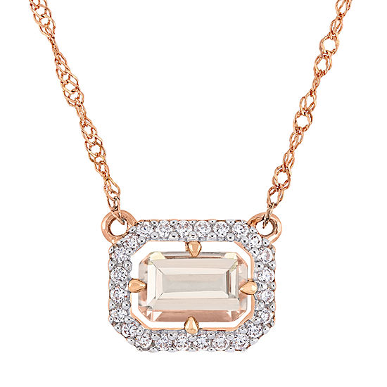 Womens 1/10 CT. T.W. Genuine Pink Morganite 14K Rose Gold Pendant Necklace