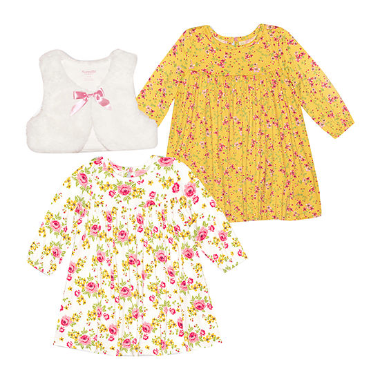 Nannette Baby Girls Long Sleeve Dress Set