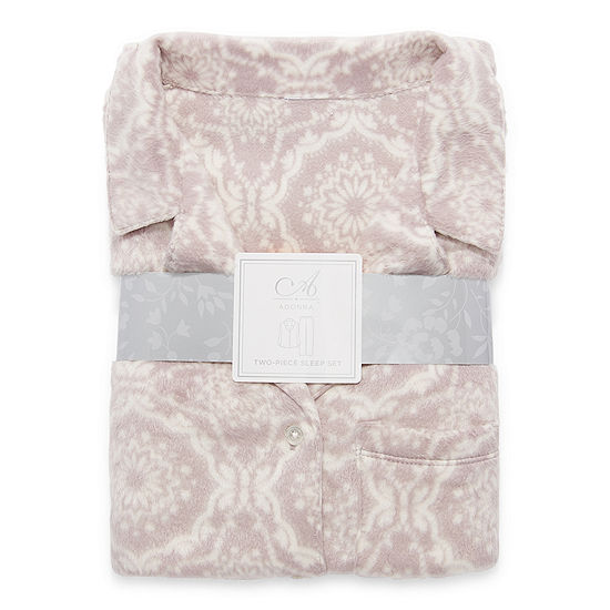 Adonna Womens-Plus Long Sleeve Pant Pajama Set 2-pc.