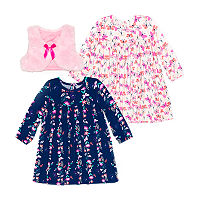 Nannette Baby Girls Long Sleeve Dress Set, 24 Months , Pink