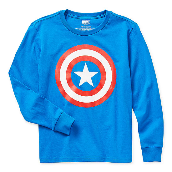 Little & Big Boys Crew Neck Captain America Long Sleeve Graphic T-Shirt