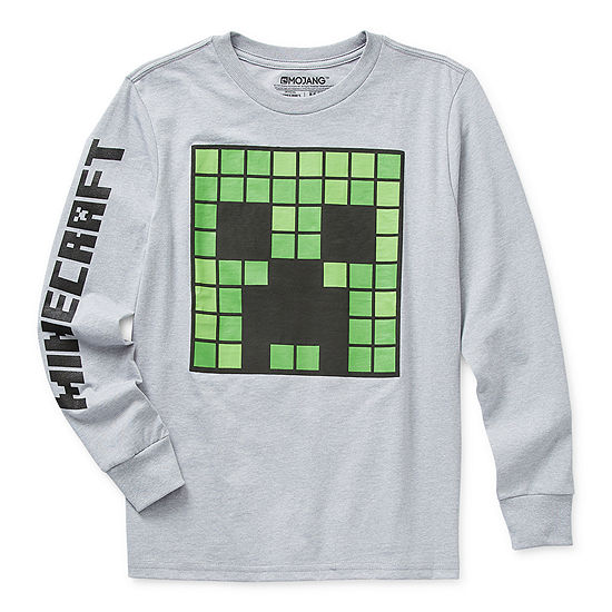 Little & Big Boys Crew Neck Minecraft Long Sleeve Graphic T-Shirt