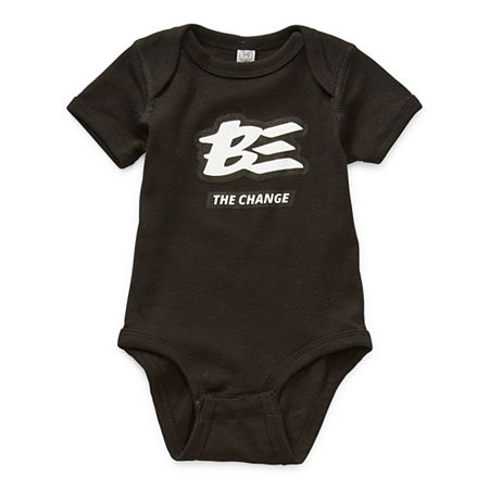 Baby Unisex Crew Neck Short Sleeve Bodysuit, 24 Months , Black