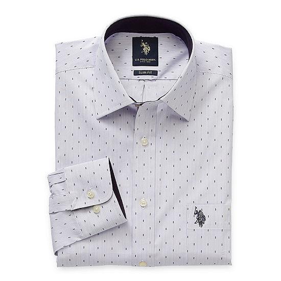 U.S. Polo Assn. Slim Mens Spread Collar Long Sleeve Stretch Dress Shirt