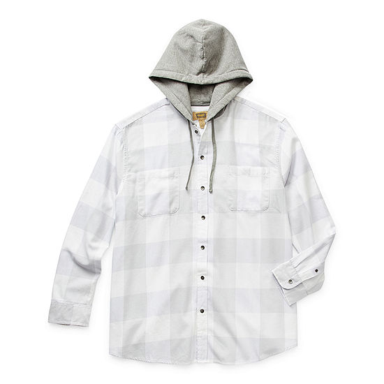 The Foundry Big & Tall Supply Co. Mens Hooded Neck Long Sleeve Flannel Shirt