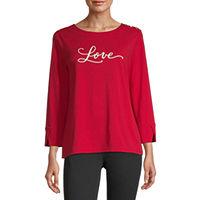 Deals on Liz Claiborne Womens Round Neck 3/4 Sleeve Sweatshirt