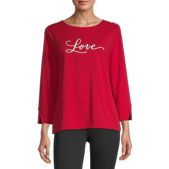 Liz Claiborne Womens Round Neck 3/4 Sleeve Graphic T-Shirt