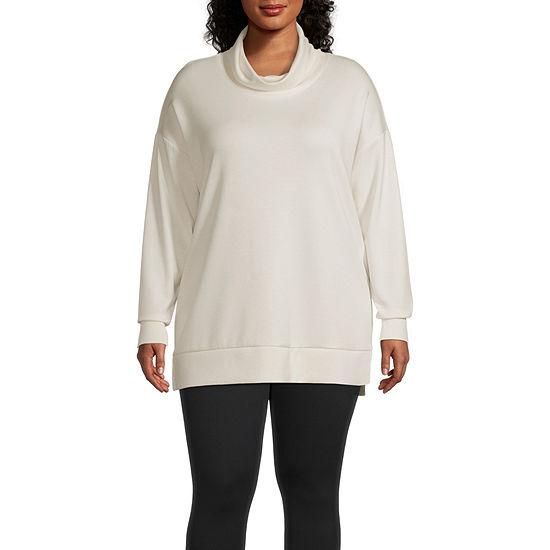 Stylus-Plus Side Zip Womens Funnel Neck Long Sleeve Tunic Top