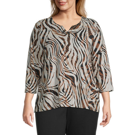 Alfred Dunner-Plus Classics Womens Crew Neck 3/4 Sleeve Knit Blouse, 1x , Beige