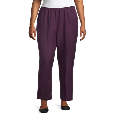 Alfred Dunner Classics Womens Straight Pull-On Pants, 16w , Purple