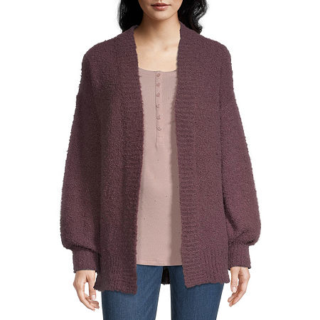 a.n.a Womens Long Sleeve Cardigan, Petite Large , Purple