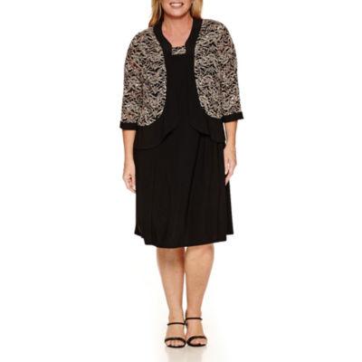 R & M Richards Long Sleeve Jacket Dress-Plus